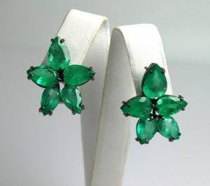 "20.0tcw ""Star Spangled Banner"" Colombian Emerald Earrings 14k"