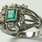 .70pts Antique Stunner! Colombian Emerald & Diamond Engagement Ring 18k