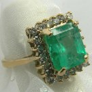 4.75tcw Spectacular! Emerald Cut Colombian Emerald & Diamond Cocktail Ring 14k
