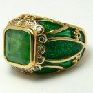 4.30tcw Decadent! Colombian Emerald Diamond, Enamel & Gold Cocktail Ring