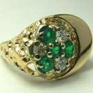 1.40tcw Solid! Celestial Colombian Emerald & Diamond & Gold Mens Ring 14k
