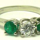 ".65tcw Exceptional Colombian Emerald & Dimaond ""Three Stone Ring"""