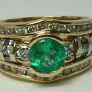 Glistening! Colombian Emerald & Diamond Wedding Set 2ct