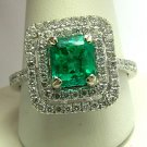 1.0tcw Gem Quality! Colombian Emerald & Diamond Engagement Ring