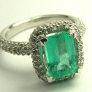 3.0tcw Emerald Cut Colombian Emerald & Diamond Pave Cocktail Ring 14k