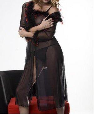 ~ Sexy Sheer Peignoir Set With Marabou Trims ~