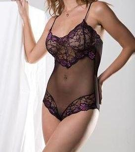 ~ Sexy Sheer Lace Teddy With Embroideries ~