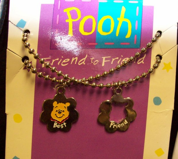Children's Jewelry, Winnie the Pooh Necklace, Best Friends, color: gold tone chains