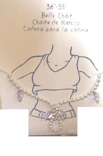 """Body Jewelry, 36""""-38"""" Silver Belly Chain links, color lavender beads"""