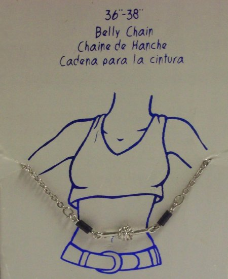 """Body Jewelry, 36""""-38"""" Silver Belly Chain,  color: black and silver beads**"""