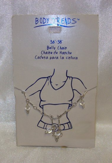 "Body Jewelry, 36'""38"" Silver Belly Chain w/ clear hanging beads**"