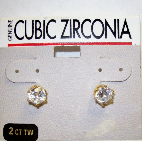 Jewelry, Cubic Zirconia Gold Earrings w/ round stone**