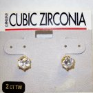 Jewelry, Cubic Zirconia Gold Earrings w/ round stone**