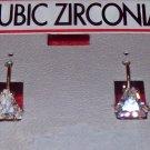 Cubic Zirconia Jewelry,  Gold Earrings w/ triangle stone**