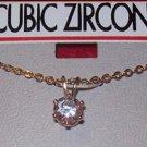 Cubic Zirconia Jewelry-Gold Chain w/round cubic zirconia**