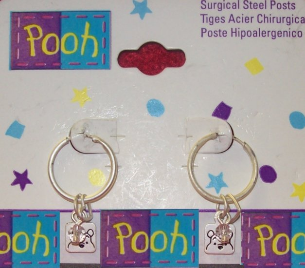 Children's  Jewelry, Winnie the Pooh  Earrings,  Light Pewter Hoops