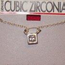 Cubic Zirconia Jewelry, Silver chain w/ silver square pendant**