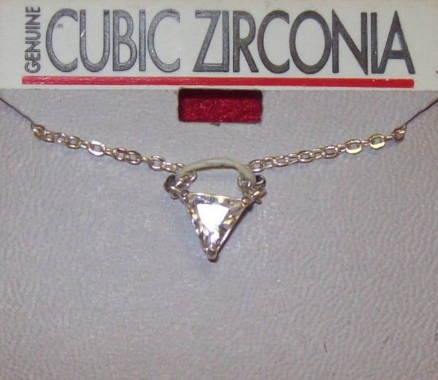 Cubic Zirconia w/ silver chain and silver triangle**