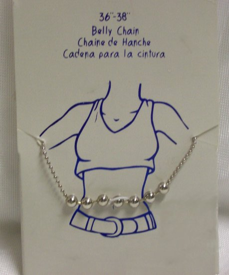 "Body Jewelry, 36-38"" Silver Belly Chain w/ 7 small Silver balls"