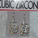 Cubic Zirconia Jewelry, Silver Earrings - Square shape**