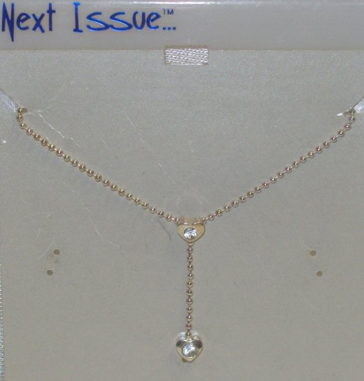 """Austrian Crystal Jewelry, 16"""" Silver Neck Chain w/ 2 small hearts**"""