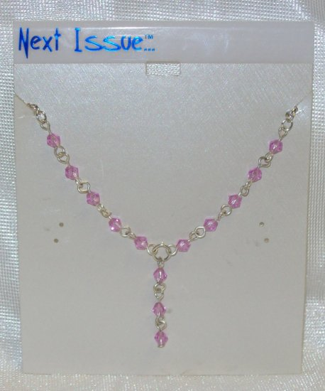 "Jewelry, Pink  Austrian Crystals on a 16"" Silver Chain**"