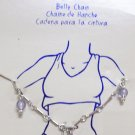 "Body Jewelry, 36""-38"" Silver Belly Chain links w/ light blue periwinkle beads"