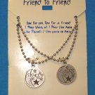 "Jewelry for Teens and Tweens, 16"" Best Friends  necklaces - round w/ half moon and stars**"