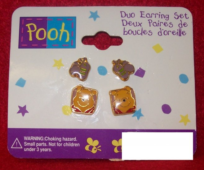 Children's Jewelry, Winnie the Pooh  Earrings, duo set of pierced