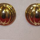 Costume Jewelry, a pair of Gold round w/ grooves earrings  w/ surgical steel post