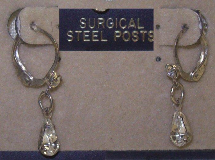 Jewelry, 1 Pr of silver dangling earrings w/ tear drop crystals