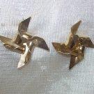 1 pr of  gold windmill Pierced Earrings,