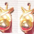 Costume Jewelry, a pair of Gold hugs and kisses earrings  w/ euro wire