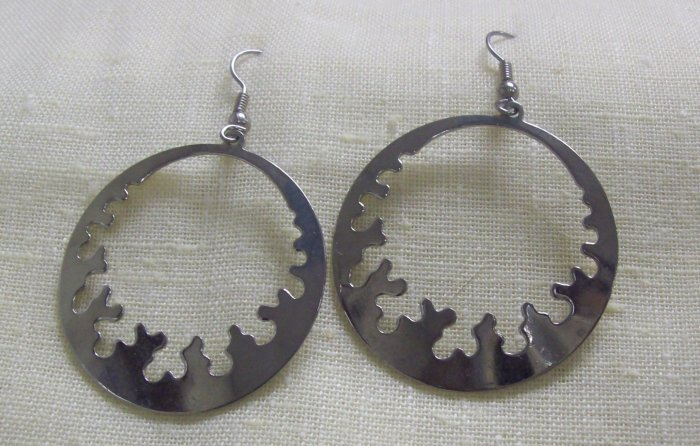 """Fashion, Costume Jewelry, Pr. silver 2"""" wide and 3"""" dangling earrings"""