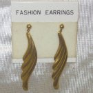 "Costume Jewelry, a pair of Gold 4"" dangling leaf earrings"