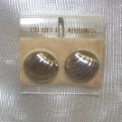 Fashion Jewelry, a pair of Gold tone button earring with grooves