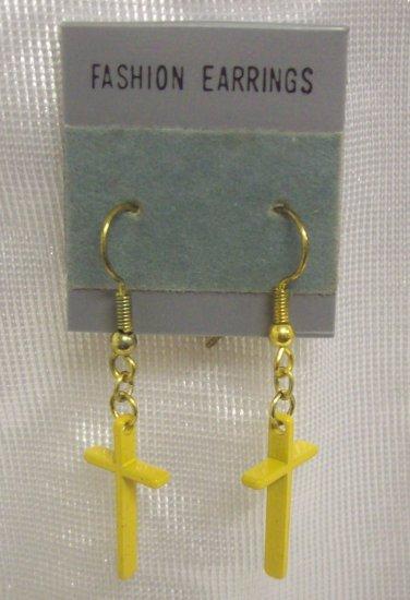 "Fashion Jewelry, Pr. yellow cross shaped earrings 1"" long"