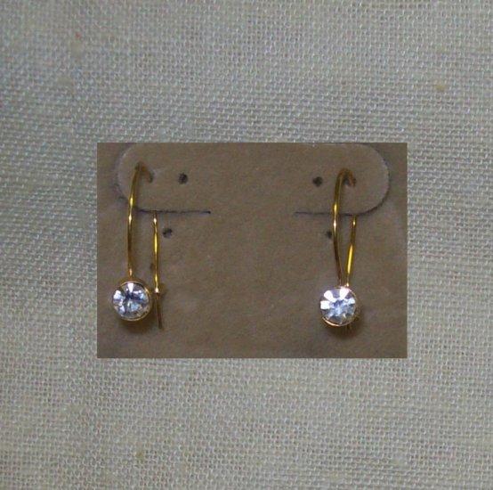 Jewelry, Pr. of Gold wire earrings w/ clear stone