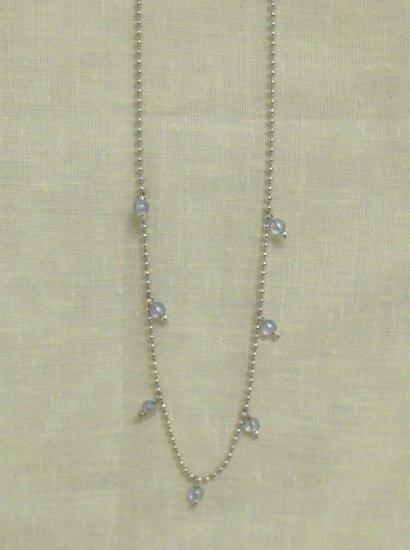 "16"" silver chain w/ blue stones dangling"