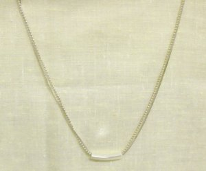 "16"" double stranded silver necklace w/ bar charm"