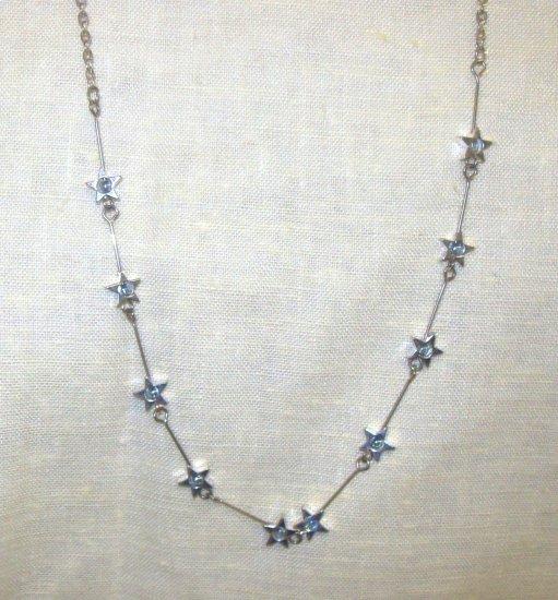 """18"""" silver Neck chain w/ silver stars w/ blue stone in center"""
