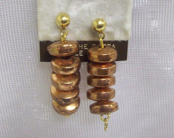 "Costume Jewelry, a pair of  bronze  w/ 5 beads dangling pierced earrings 1"""