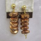 Costume Jewelry, a pair of  bronze  w/ 5 beads dangling pierced earrings 1""