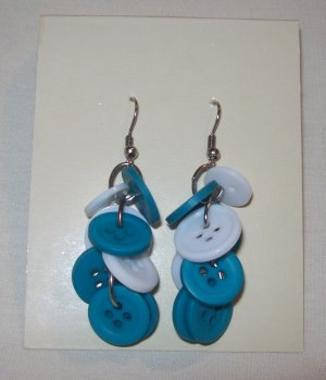 """Pr. of  Hand crafted Blue and Light Blue   3"""" dangling Button Earrings"""