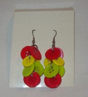 """Pr. of  Hand crafted Orange and Lime 3"""" dangling Button Earrings"""