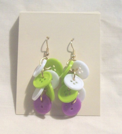 """Pr. of  Hand crafted lime green, purple and white  3"""" dangling Button Earrings"""