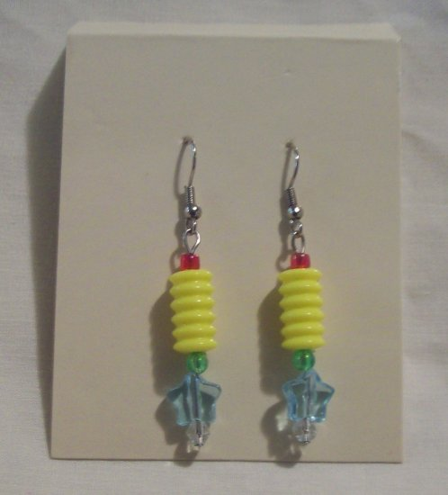 "Pr. of  Hand crafted yellow and light Blue beaded  3"" dangling Earrings"