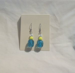 "Pr. of  Hand crafted yellow and Light Blue   2"" round bead Earrings"