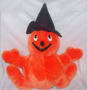 Halloween Decorations, Plush Toy, Pumpkin Man with witch hat