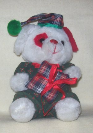 **Stuffed, Plush christmas bear holding a checkered pillow, matching hat by Cloud 9